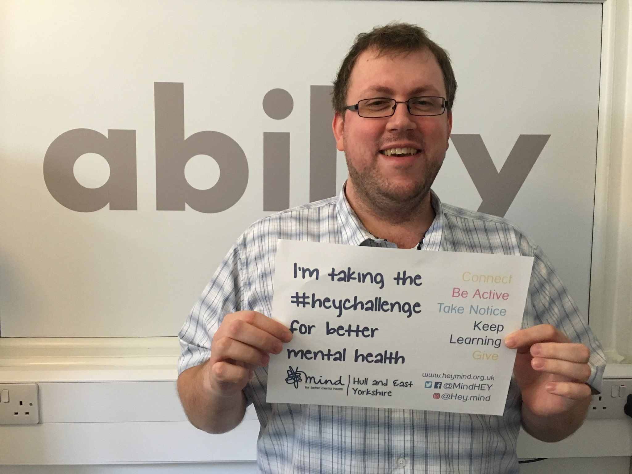 Proudly supporting the 5 ways to mental health #heychallenge in October with Hull & East Yorkshire Mind